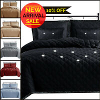 Modern Coverlet Quilted Bedspread Embossed Stylish Comforter Throw & Pillow Case