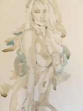 Vibrant Blonde Woman.Original Watercolour Drawing.Striking Model,Confident Nude