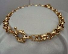 "9K 9ct Yellow ""Gold Filled"" Men Ladies Belcher Chain Bangle Bracelet. 8.7"" Gift"