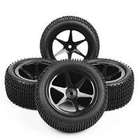 4Pcs 1:10 HSP HPI RC Off-Road Buggy Car Rubber Front & Rear Tyres Tire Wheel Set