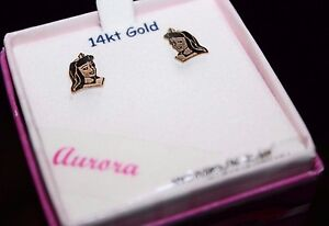 Disney Disney Princess Aurora 14K Yellow Gold Stud Earrings