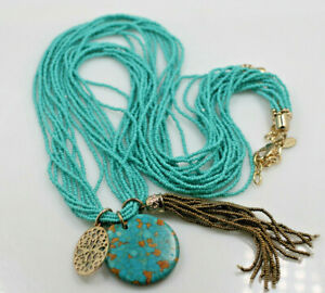 """Chico's Multi strand turquoise glass seed bead pendant tassel necklace 34"""""""