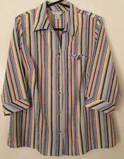 54d2ba5048348 Allison Daley Womens 16W Shoulder Pads Stripe 3 4 Sleeve Button Down Shirt