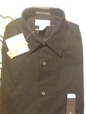 NWT Concepts By (Liz) Claiborne Dress Shirt Black Stripes Size Medium Modern $45