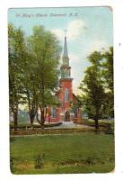 NH - CLAREMONT NEW HAMPSHIRE 1921 Postcard ST MARY'S CHURCH