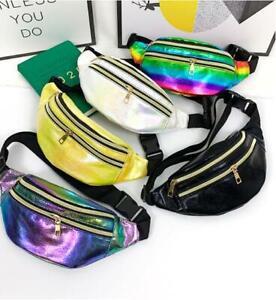 Womens Ladies Double Zips Bum Bag Fanny Rainbow Festival Travel Waist Money Belt