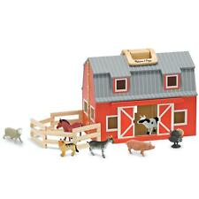 Melissa & Doug FOLD AND GO WOODEN BARN With Animals Toy Gift Toddler Child BN