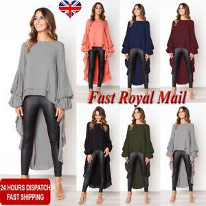 Plus Size Women Asymmetric Long Tops Blouse Lacework Vest Ladies Tail Mini Dress