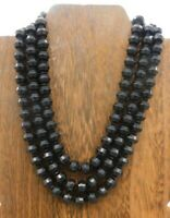 """W Germany Signed Vintage Black Multi Strand Faceted Bead Gold Tone 17"""" Necklace"""