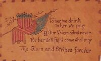 Leather Hand Colored Fourth of July Postcard American Flag Shield Poem~127340