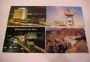 4 - 1970s, Las Vegas Postcards, Mint Cond, Hilton, Aladdin, Strip & Nellis AFB
