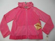 new CARIBBEAN JOE Hoodie Women's Size M Cotton Velour Full Zip Pink