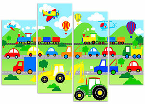 Planes Trains & Automobiles Children's Boys Vehicle Car Canvas Art Print Picture