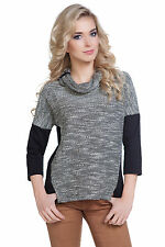 Women Knitted Batwing Jumper Cowl Neck Pullover Sweater Blouse Top Size 8-12 210