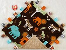 Double Minky! Jungle Tales & Tan Minky Tag Taggie Security Blanket Baby