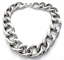 """Massive Givenchy Silver Link Necklace Vintage 18"""" Statement Heavy Chain Paris NY"""