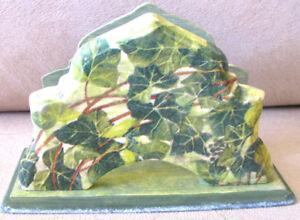 Wooden Napkin Holder Wood Kitchen Tissue Serviette Green Floral Ivy Herb Decor