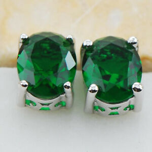 Elegant 925 Silver Jewelry Stud Earrings for Women Emerald Wedding Earring Gift