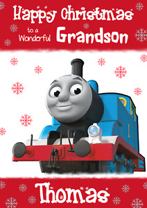 Thomas The Tank Engine personalised A5 Christmas card Son Grandson Brother Name