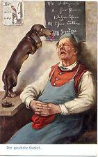 """Dackel, schlafender Mann, """"Der gescheite Dackel"""", um 1910"""