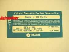 1971 Dodge Plymouth 440 4bbl Automatic Transmission Emissions Decal NEW MoPar