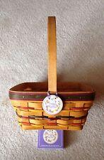 Longaberger Easter Basket- Lg.1998- w/ Tie-On- 3 signatures