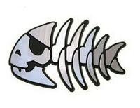 Jolly Pirate Fish Raised Chrome-Like Finish Car Emblem Roger FSM Pastafarian