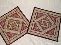 2 Zardozi Maroon Indian Patchwork Throw Pillow Shams