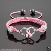 Promotion!Shamballa Crystal Pink Ribbon Breast Cancer awareness bracelets gift