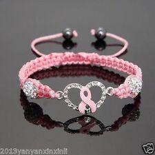 Promotion!Shamballa Crystal Pink Ribbon Breast Cancer awareness bracelets gifts