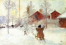 """Carl Larsson: Brita y el trineo: estilo sueco: 24 """"Fine Art Lona Impresión"""