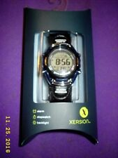 XERSION WATCH Stopwatch w/backlight digital display tough band w/leather swatchs