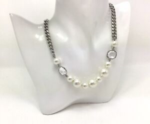 """Givenchy Faux Pearl CZ Silver Chain Necklace 18""""/46cm"""