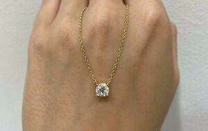 18ct Yellow Gold 0.64ct IGI Certified Diamond Solitaire Necklace