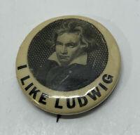 "Vintage ""I Like Ludwig"" Pin Union Label"