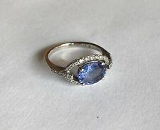 14k White Gold Evil Eye-Shaped Tanzanite and Diamond Halo Ring