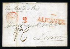 ESPAÑA CARTA ALICANTE A LONDRES VIA MADRID Y PARIS 1839