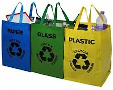 Premier Housewares Set of 3 Plastic Glass Paper Dust Waste Rubbish Recycle Bags