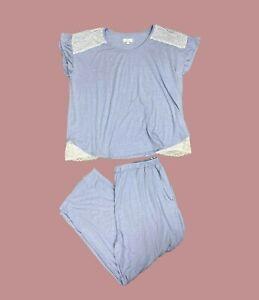 Ex Evans Blue Lace Trim Plus Size Pyjama Set Size 18 - 28
