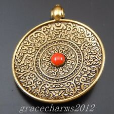 10pcs Antiqued Golden 26x25x4mm Round Floral Pendants Charms With Ruby 50092