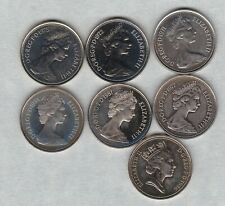 More details for 7 proof 5 pence coins 1971/1972/1975/1977/1981/1984 & 1986 in mint condition.