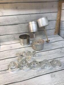 11 NOS VINTAGE PERCOLATOR LID GLASS KNOBS USA MADE COFFEE POT PARTS BOX LOT