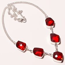 """A++++Quality ! Faceted Garnet Quartz Silver Plated Necklace 17""""18""""(n-1329)"""