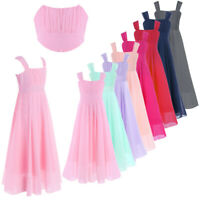 Girls Summer Chiffon Dress Party Flower Girl Wedding Bridesmaid Long Maxi Dress