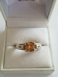 Sterling Silver 925 Citrine Ring Size W