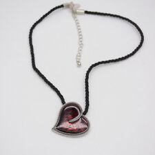 lia sophia jewelry black rope chain red enamel heart pendant silver necklace