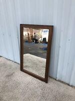 Mid Century Modern Rectangular Mirror with Walnut Frame