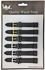 6 x Wholesale Job Lot Regular Black Leather watch straps 6mm to 24mm