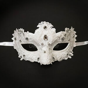 Elegant White Laces with Gems Women Halloween Party Ball Masquerade Mask