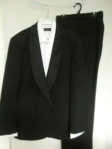 Anthony Squires Black Pure Wool Formal Suit Suit Size 117